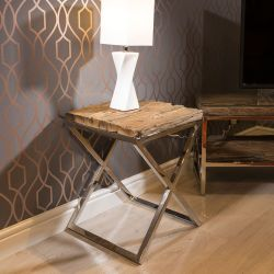 Stunning Square End Side Lamp Table Solid Reclaimed Hardwood 45x45cm