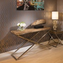 Luxury Hall / Console Table Solid Reclaimed Hardwood Top 140x40cm New