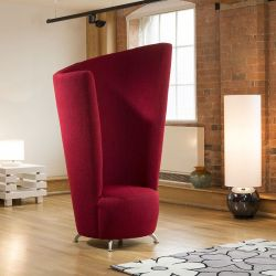Modern Massive 6ft High Curved Red Fabric Armchair / Tub Chair /Chairs