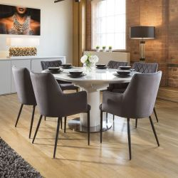 Extending Round Oval Dining Set White Gloss Table 6 Grey Carver Chairs