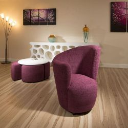 Modern Large Curved Purple Fabric Armchair/Armchairs/Tub Chair/Chairs