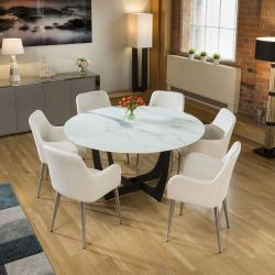 Round White Glass Marble Effect Dining Table + 6 x White Carver Chairs