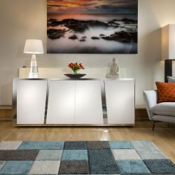 Luxury White 4 Door Sideboard Glass Top Stainless Frame 2mt No Assy V