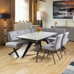 Dining Table Concrete Melamine Extends +2 Grey Chairs & Corner Bench L