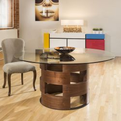 Modern Funky Large Round Walnut and Clear Glass Dining Table 1600mm