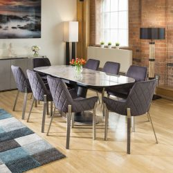 Extending Dining Table Italian Grey Ceramic + 8 Charcoal Carver Chairs
