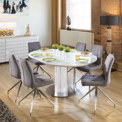 Modern Extending Dining Set Oval / Round Glass Wht Table 6 Gry Chairs