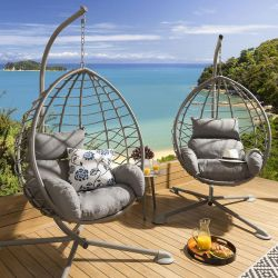 Luxury Pair of Large Patio Outdoor Garden Hanging Pod Egg Chairs Grey  + Table Carlisle