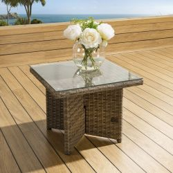 Luxury Outdoor Garden Square Side Coffee Table Brown Rattan Clear Glass
