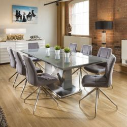 Large 8 Seat Dining Set 2.2m Grey Glass Table 8 Grey Swivel Chairs