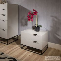 Quatropi Bedside Table / Nightstand / Lamp Table in Stone Grey Gloss
