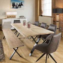 2.4x1 Rectangle Table and bench White Solid Oak 5x Brown Swivel Chairs