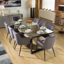 Neptune Solid Oak Glass Top Dining Table 2.2x1m + 8 Grey Carver Chairs