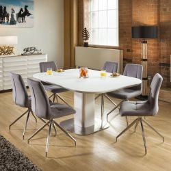 Stunning Dining Set White Glass Square Extending Table +6 Grey 7428