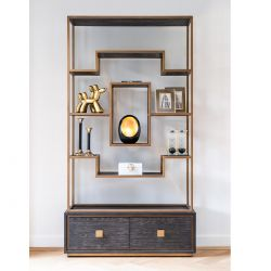 Quatropi Tall Shelving Unit With Drawers Black Oak Gold Stainless Steel 2200mm