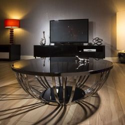 Modern Designer Large Round Coffee Table Glass Top Stainless Steel 201