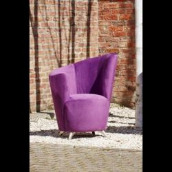 Modern Large Curved Purple Fabric Armchair / Tub Chair with metal feet