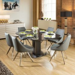 Dining Set Grey Glass Square Extending Table + 6 Modern Grey Chairs