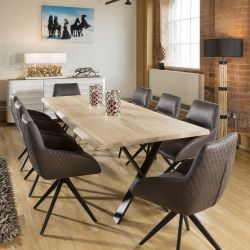 2.4x1m Rectangle Dining Table White Solid Oak 8x Brown Swivel Chairs