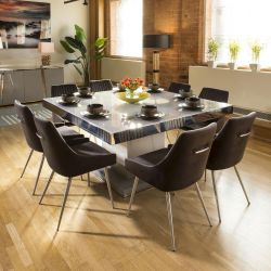 Massive Grey & Chrome Dining Set Glass Top 8 Charcoal Velvet Chairs