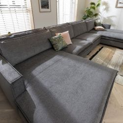 Large 8 Seater Grey Sofa - Snuggle Chaise End 492x200cm In Stock