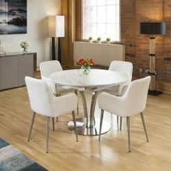 Round White Italian Ceramic Dining Table Extends +4 White carver Chair