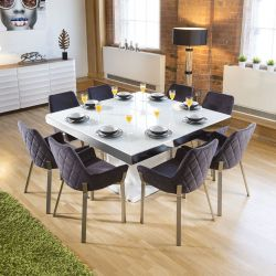 Large Square White Glass Gloss Dining Table +8 Dark Grey Carver Chairs