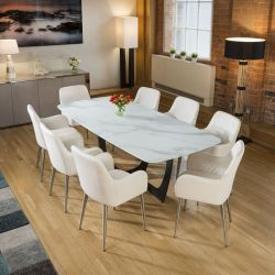 Modern White Glass Marble Effect Dining Table + 8 White Carver Chairs
