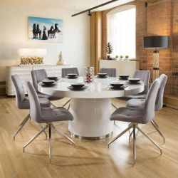 Large Round White Gloss Dining Table Lazy Susan + 8 Grey Chairs 7248