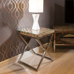 Stunning Square End Side Table Solid Reclaimed Hardwood 45x45cm Glass