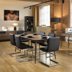 Extending Dining Set Walnut / Grey Table 6 Black Cantilever Chairs