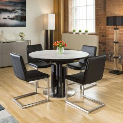 Round Extending Concrete Effect Dining Table + 4 x Sleek Black Chairs