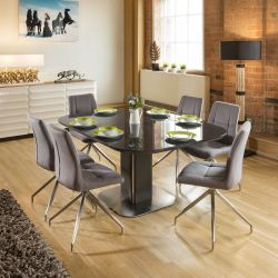 Dining Set Grey Glass Square Extending Table + 6 Grey Swivel Chairs