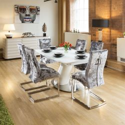 White Glass Top Extending Dining Table +6 Silver Crushed Velvet Chairs