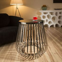 Modern Round Side / Lamp Table/Tables Smoked Glass Stainless Steel 071