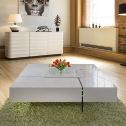 Modern Large Avorio Grey Gloss Coffee Table 1194 mm Square Glass Legs