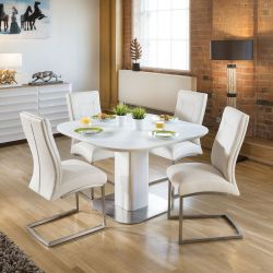 Stunning Dining Set White Glass Square Extending Table +4 Chairs 4110