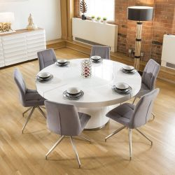 Large Round White Gloss Dining Table Lazy Susan, 6 Grey Chairs 7428