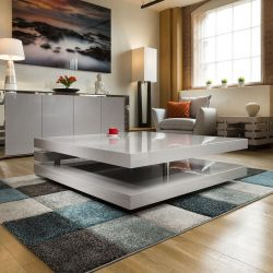 Superb Extra Large Modern Square Grey Gloss 1.2mt Coffee Table 397E