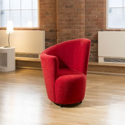 Modern Large Curved Red Fabric Armchair / Armchairs / Tub Chair/Chairs