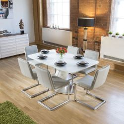 White Glass Top Extending Dining Table + 6 Ice Grey Cantilever Chairs