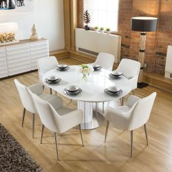 Modern Extending Dining Set Oval / Round Glass Table 6 White Chairs