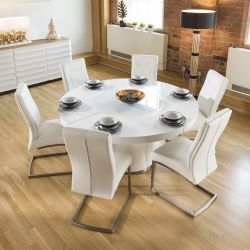 Large Round White Gloss Dining Table Lazy Susan, 6 White Chairs 4110
