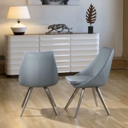 Set of 2 Modern Large Comfy Thick Padded Luxury Med Grey Dining Chairs