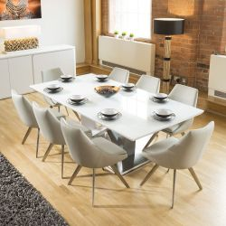 Huge 8 Seater Dining Set 2.2mt White Glass Top Table 8 Large Ice Grey Chairs