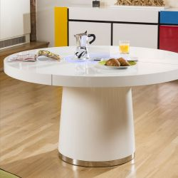 Large Round White Gloss Dining Table Glass lazy susan LED lighting 1.4