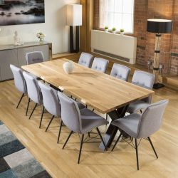 Venus Solid Natural Oak Dining Table 2400x1000mm +10 Grey Fabric Chair