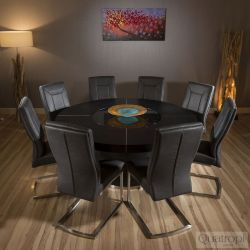 Luxury Round Black Oak Dining Table 8 Vintage Black Thick Back Chairs