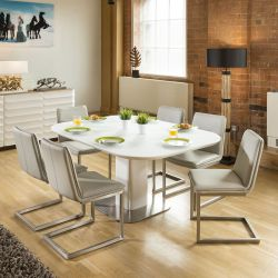 Stunning Dining Set White Glass Square Extending Table +6 Ice Chairs