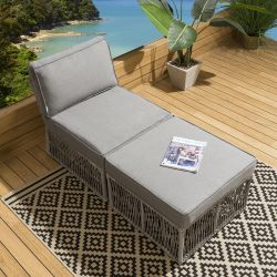 Quatropi's Cole Patio Furniture Lounger Daybed Grey Thick Cushions B1